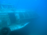 The wreck of the Russian Hydrofoil used to sit upright on the seabed near El Pajar