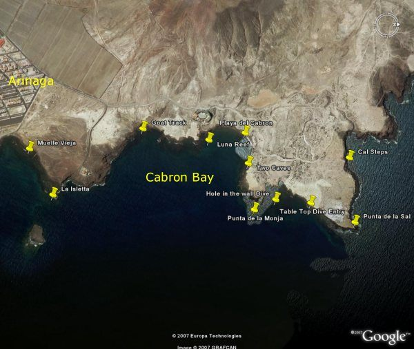 Gran Canaria - the marine reserve at El Cabrón as seen from a satelite