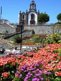 The Church overlooks the gardens in Santa Lucia, Gran Canaria